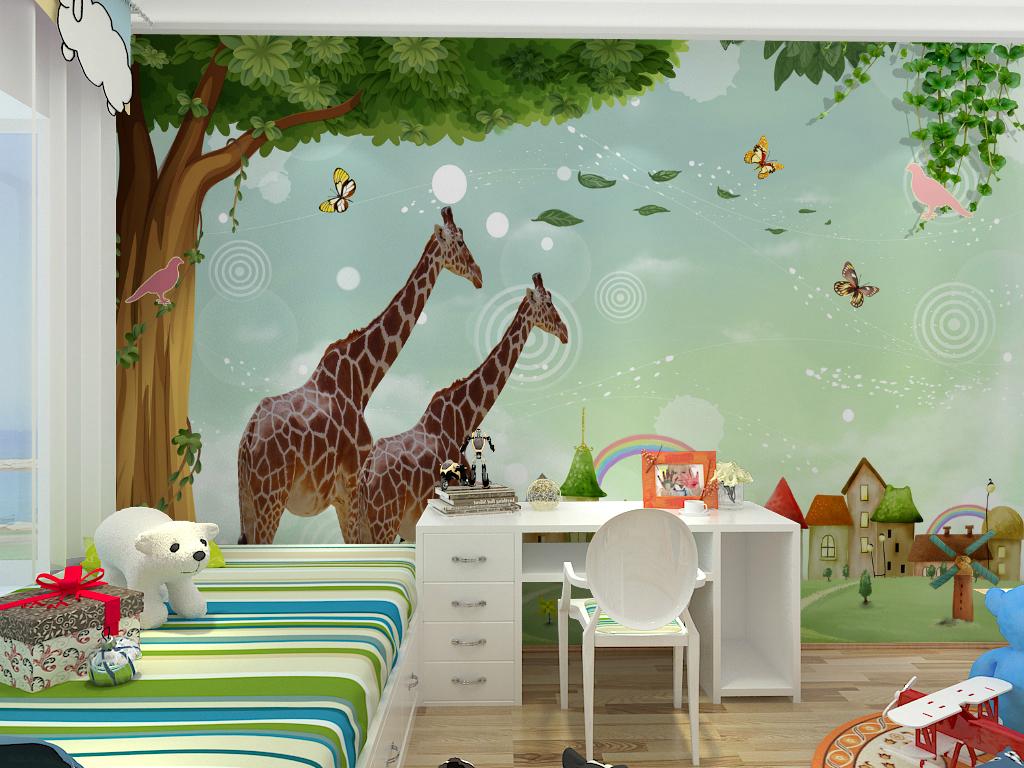 3d背景卡通人物迪士尼人物迪士尼游乐园卡通背景大树儿童房背景儿童卡