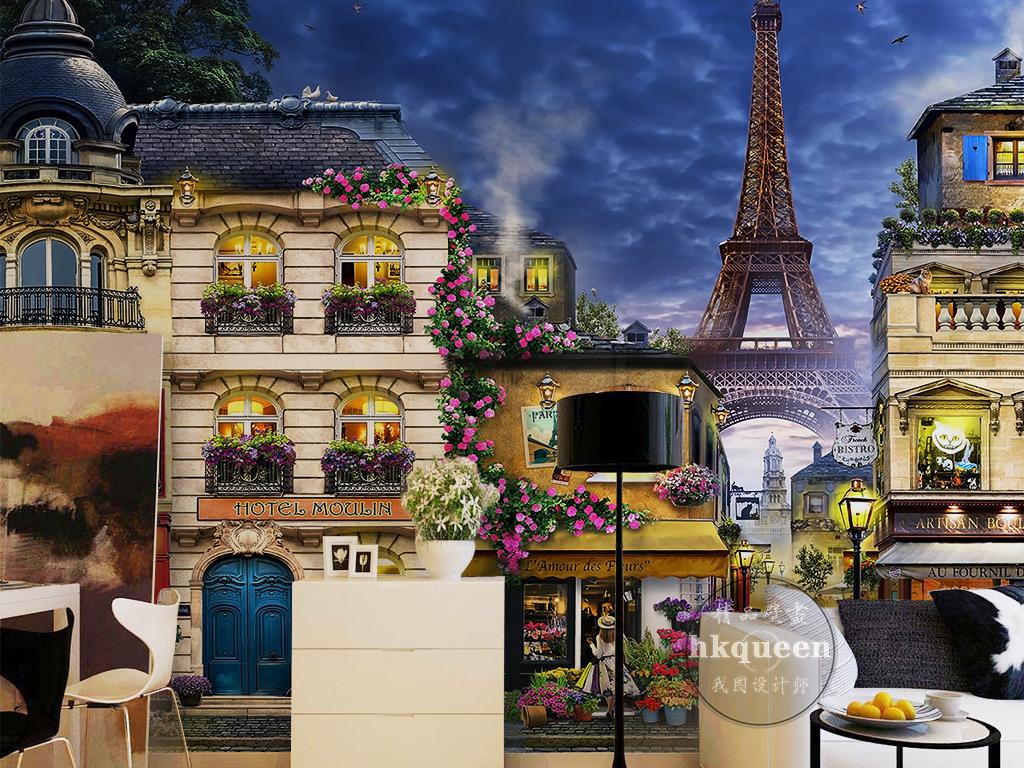 欧式古典浪漫巴黎小镇埃菲尔铁塔风景背景墙