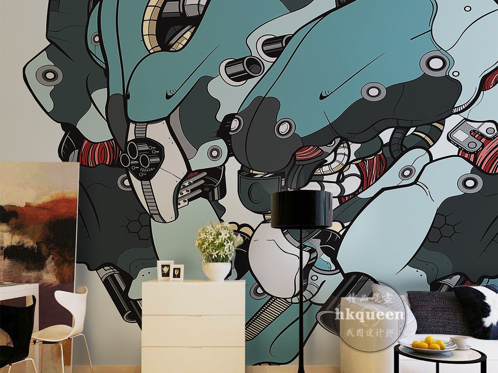 手绘卡通暗黑动漫主题网吧游戏工装背景墙