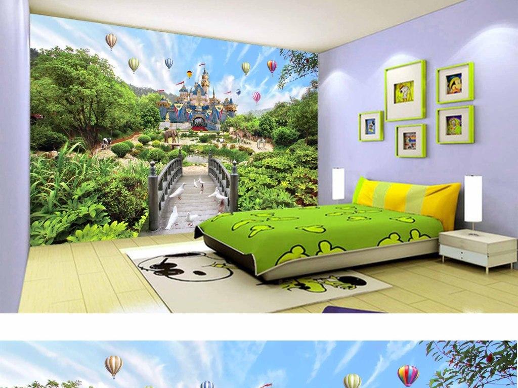 超高清梦幻仙境城堡动物世界儿童房间背景墙