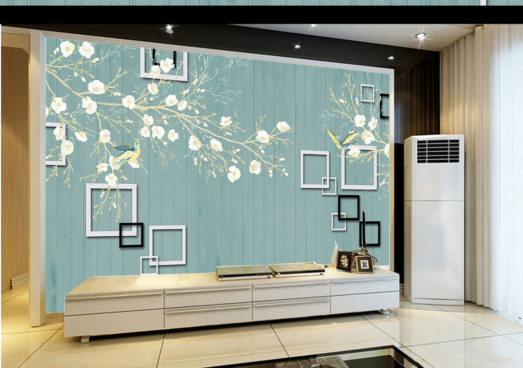 3d立体方框蓝色木板手绘花鸟背景墙壁画