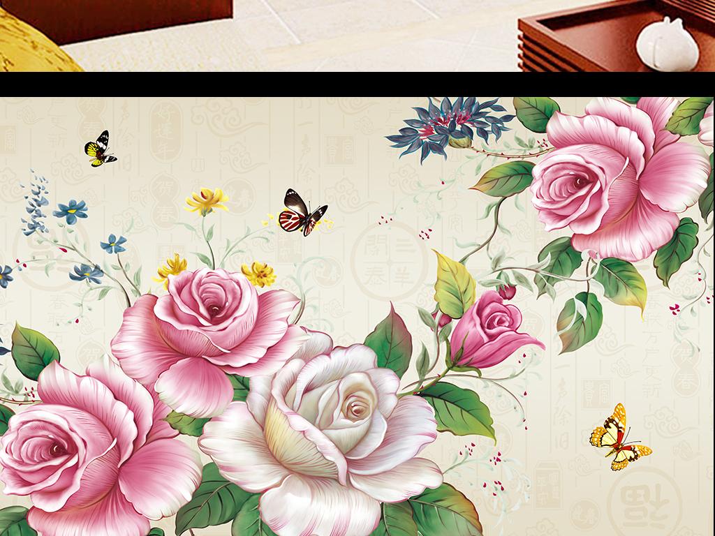 手绘水彩花卉玫瑰花牡丹花背景墙装饰画