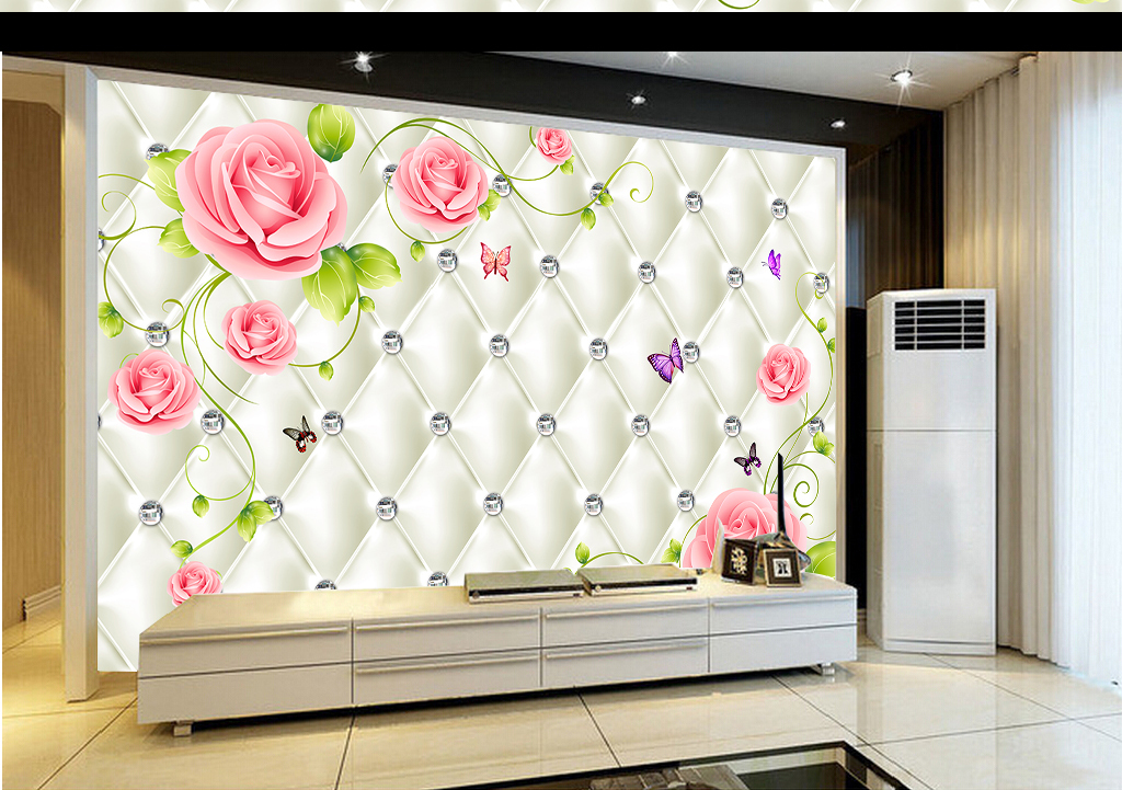 我图网提供精品流行欧式花开富贵软包背景墙