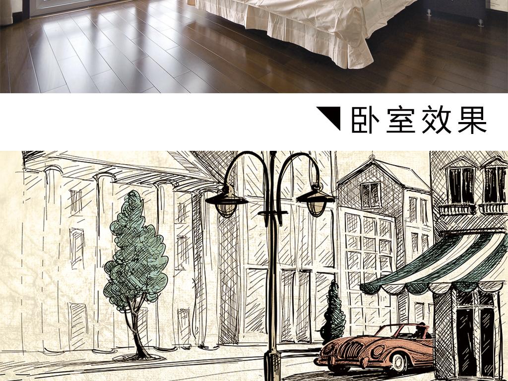 整屋手绘线条城市街景汽车小树全屋背景墙图片