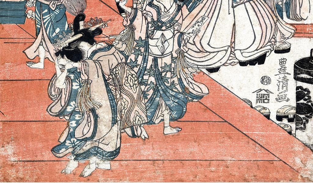 日本浮世绘人物美女玄关背景墙