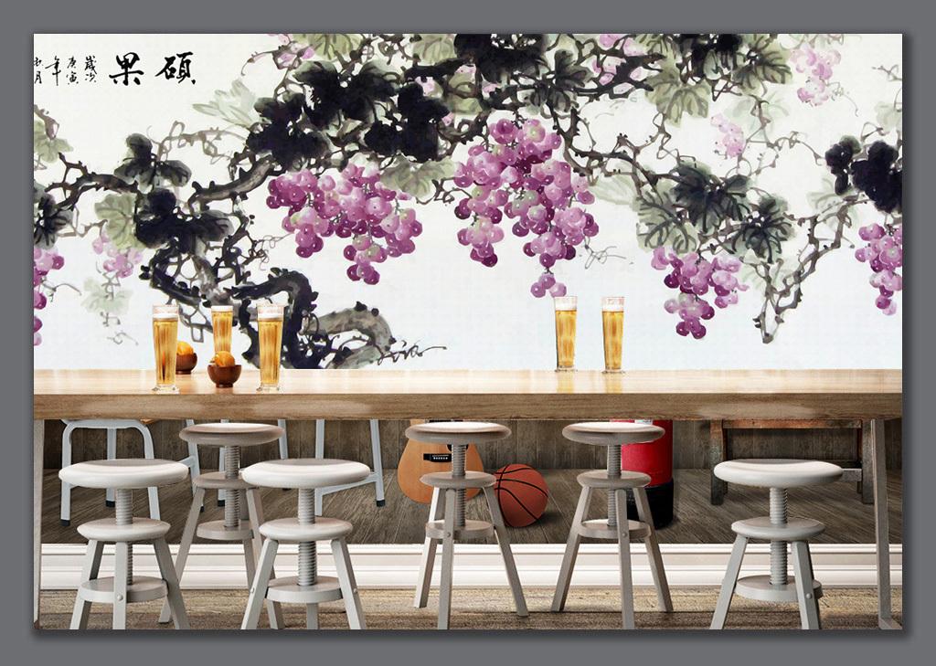 手绘国画水墨画葡萄背景墙