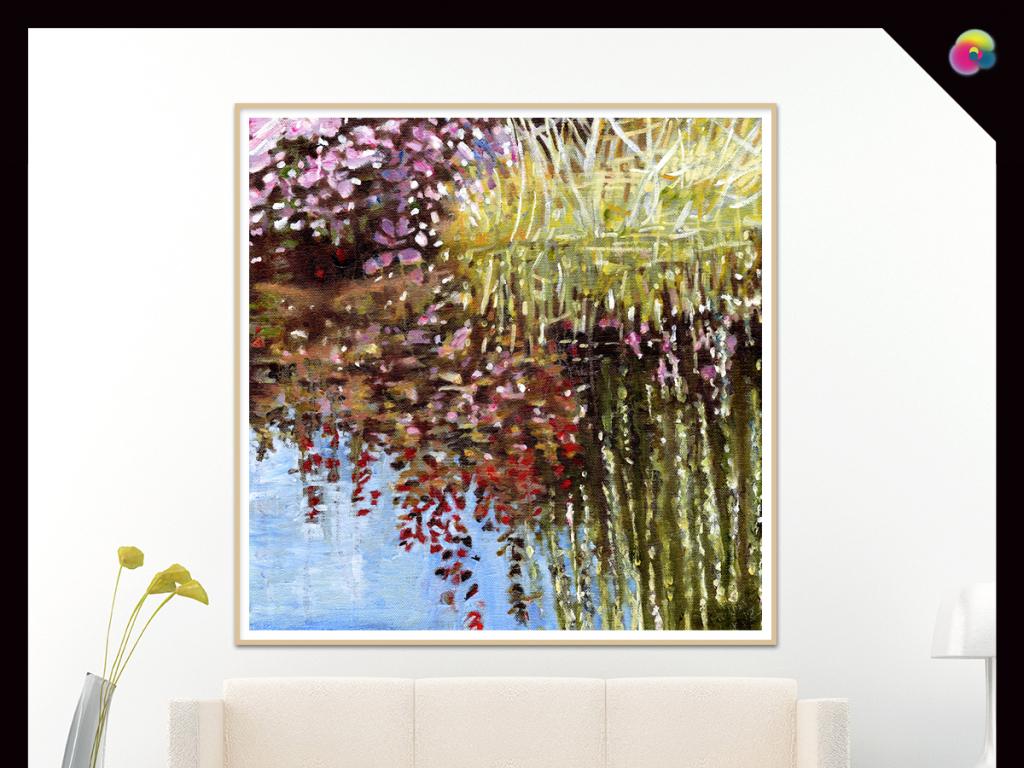 手绘森林植物墙画
