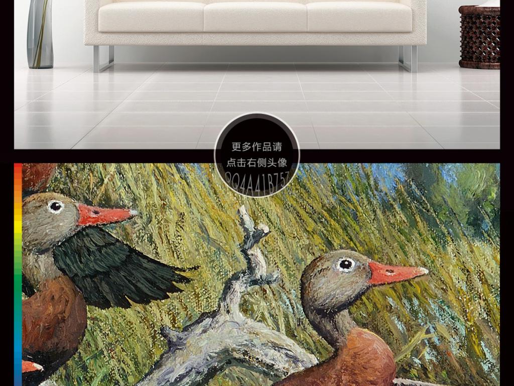 手绘古典简约型工笔画花鸟背景墙装饰画