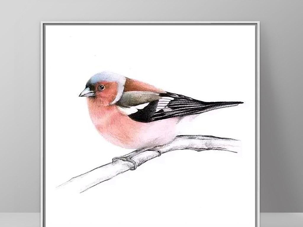 枚红色北美小鸟现代简约欧式手绘装饰画