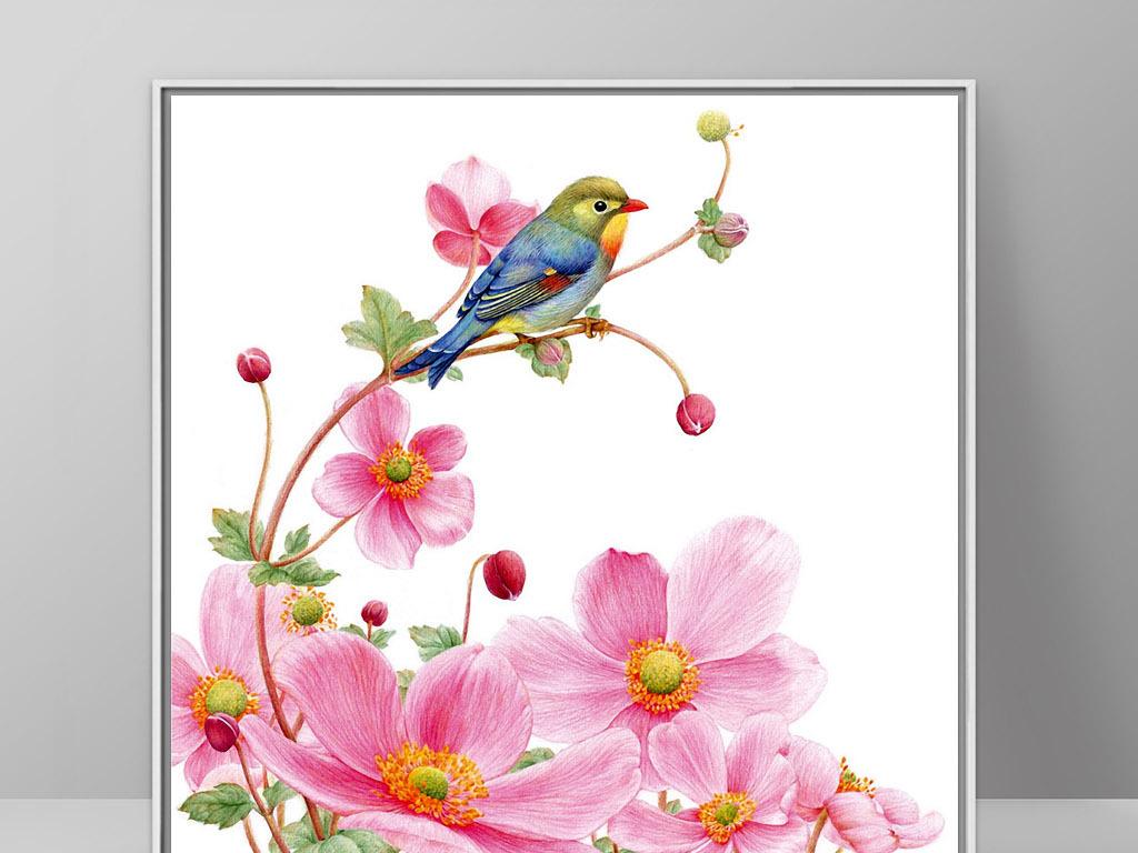 背景墙|装饰画 无框画 动物图案无框画 > 喜鹊花卉北欧现代唯美欧式