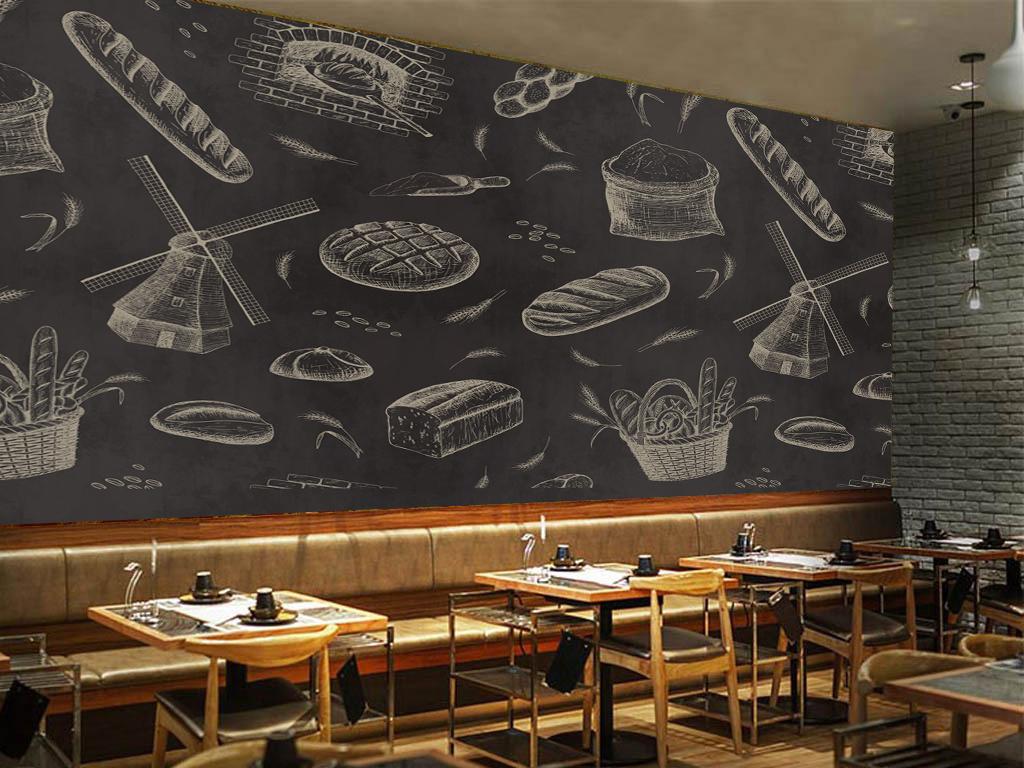 面包店咖啡店黑板壁纸墙纸