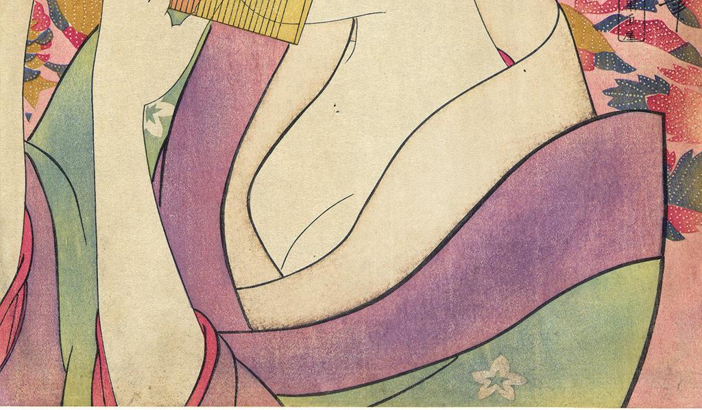 唯美日本女人花卉玄关背景墙