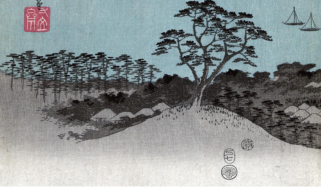 日本山水风景玄关背景墙