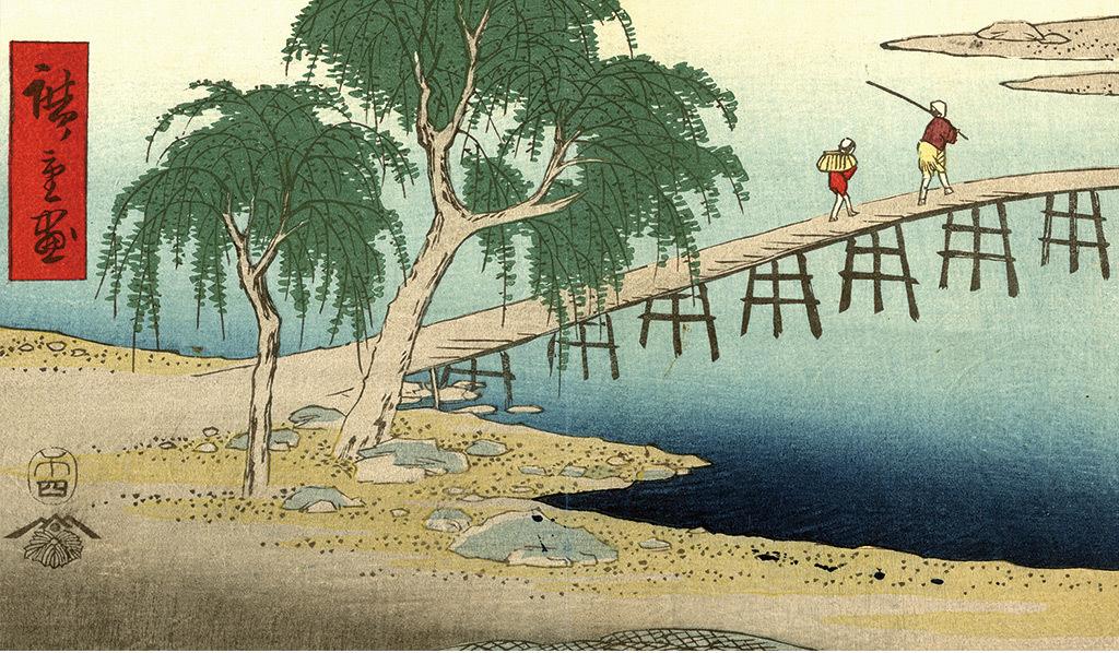 日本乡村山水风景人物玄关背景墙