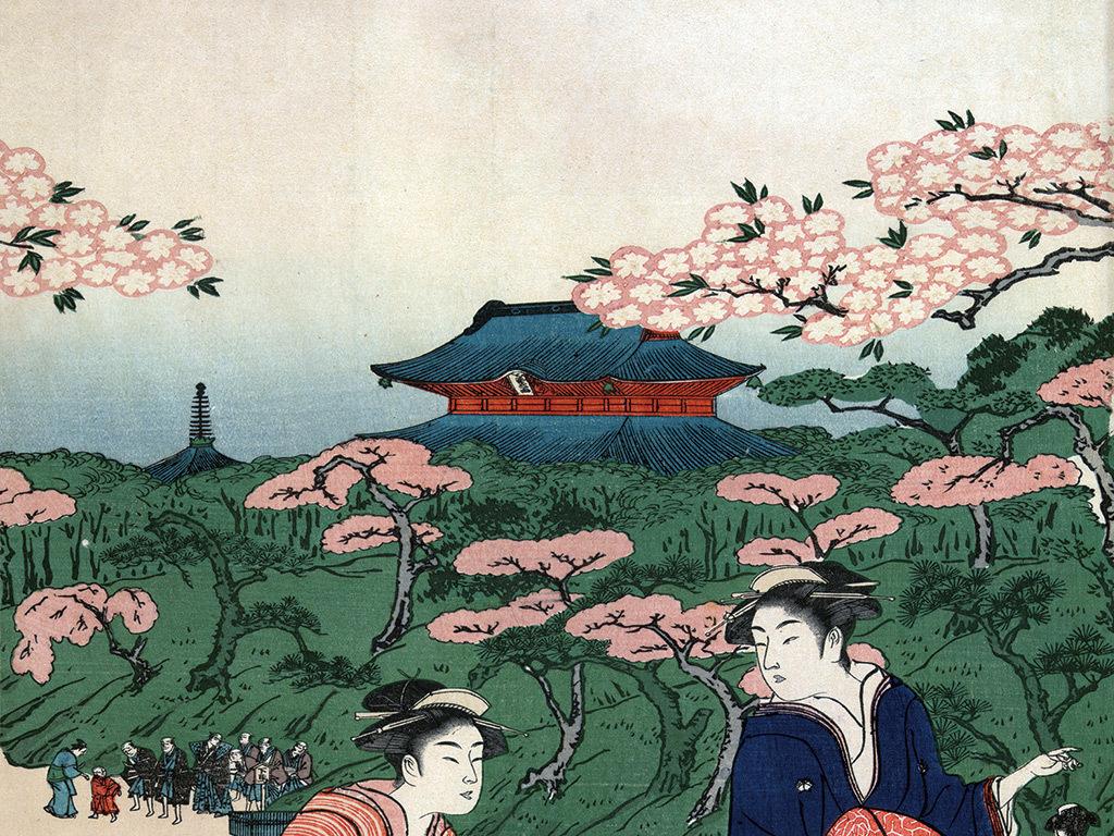 日本绘画人物女人樱花建筑玄关背景墙