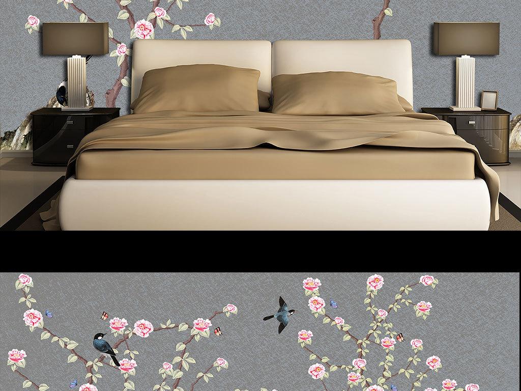 背景墙|装饰画 壁画 手绘壁画 > 手绘工笔草坪花鸟图  版权图片 设计