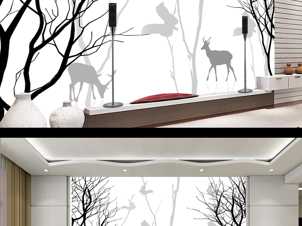 现代简约手绘黑白树枝电视背景墙