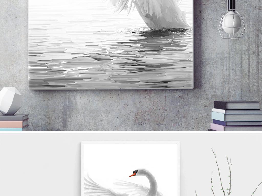手绘天鹅无框画油画装饰画