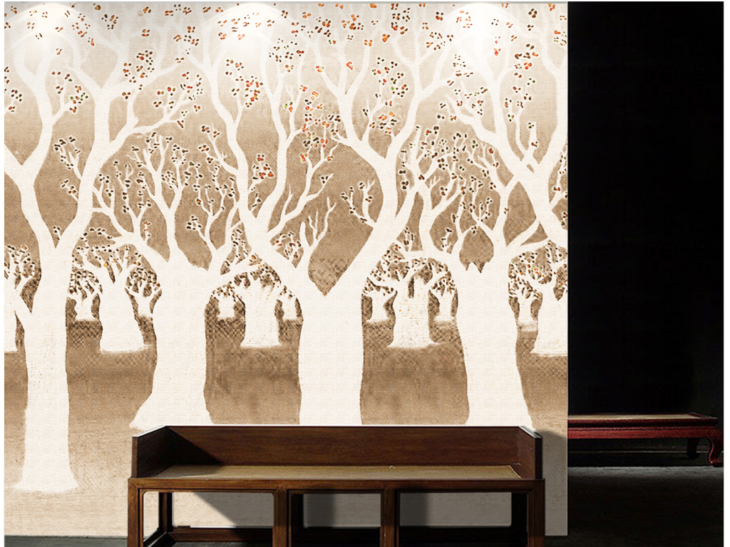 手绘北欧简约卡通插画森林背景墙手绘插画树