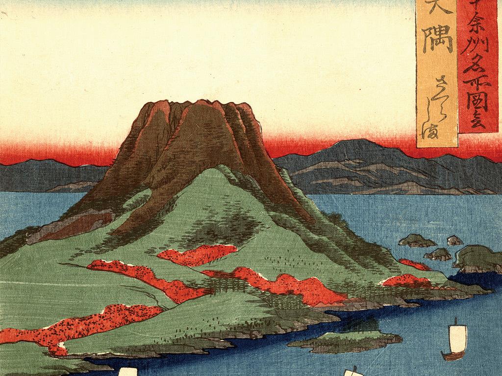 日本山水风景火山玄关背景墙