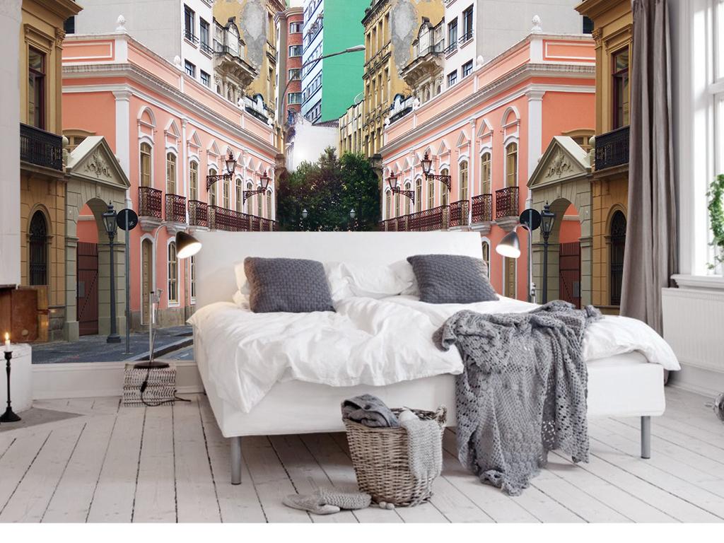 设计作品简介: 欧式建筑欧式街道道路背景墙