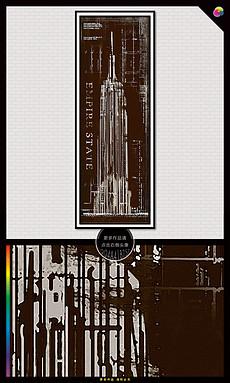 怀旧美国纽约帝国大厦<strong>黑白</strong>风景<strong>装饰画</strong>