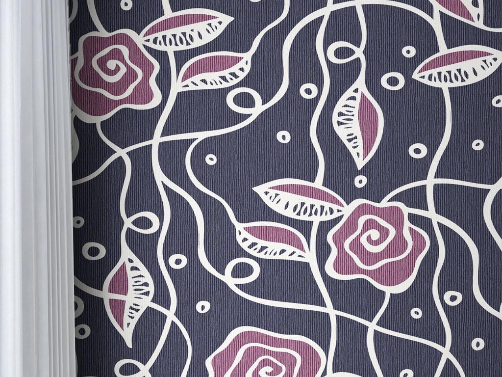 现代时尚黑底玫瑰欧式简约背景墙墙纸