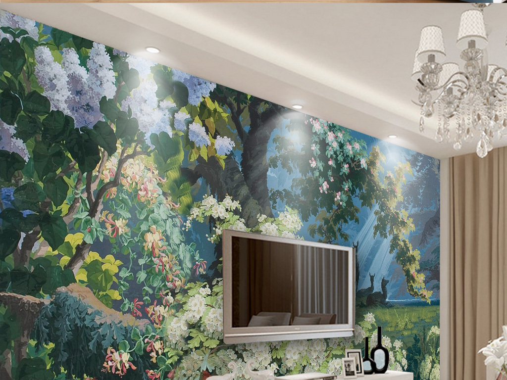 我图网提供精品流行欧式复古手绘热带植物怀旧背景墙