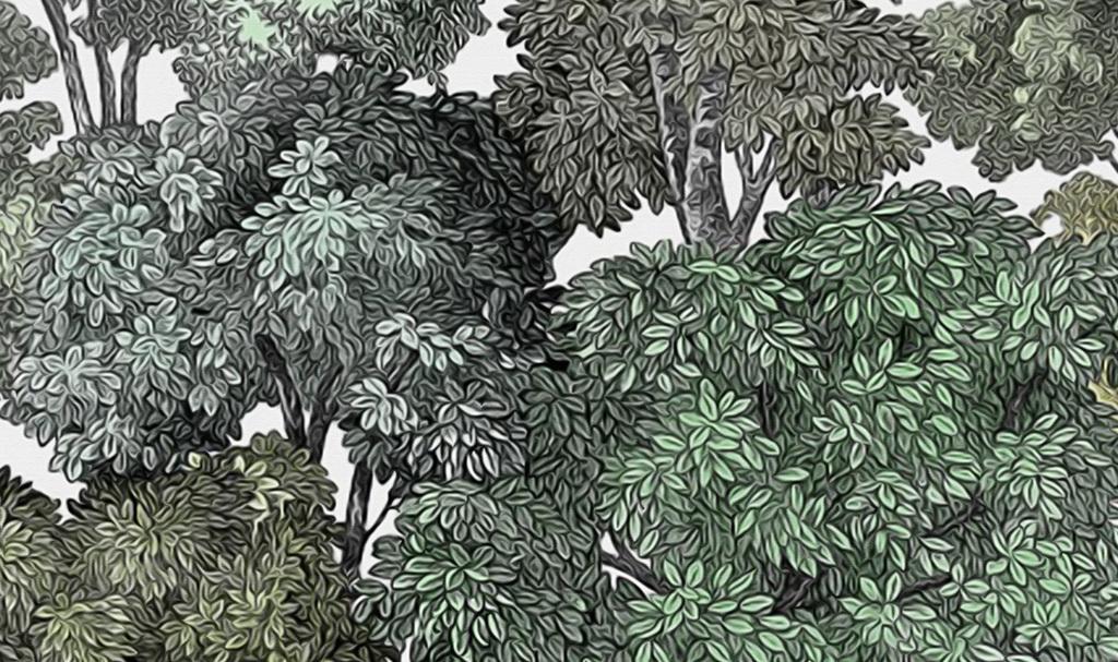 精品流行欧式复古手绘热带植物怀旧背景墙素材下载
