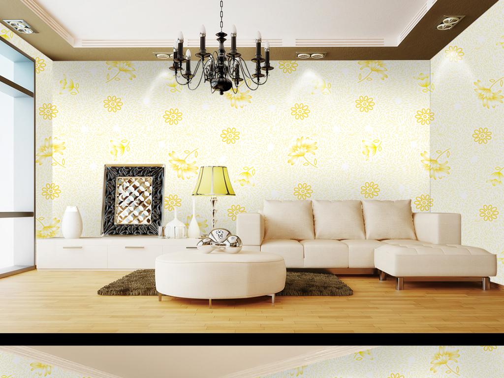 欧式手绘花朵图案平铺壁画墙纸背景墙