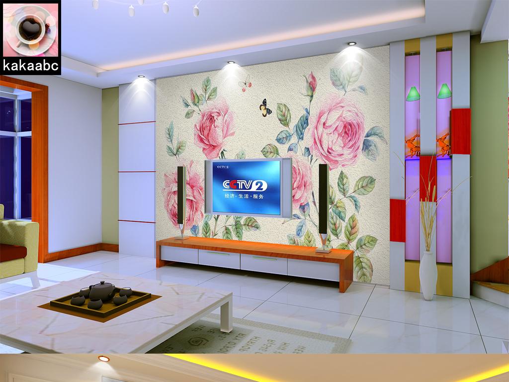 手绘田园花卉蝴蝶电视背景墙