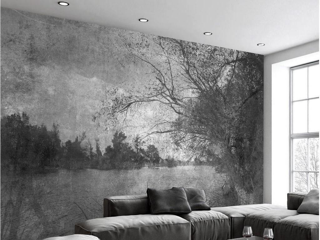 黑白旧照片复古简约风景树林北欧电视背景墙图片