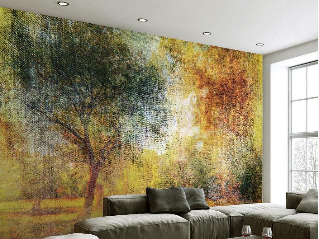 抽象油画风格复古时尚黄色树林电视背景墙