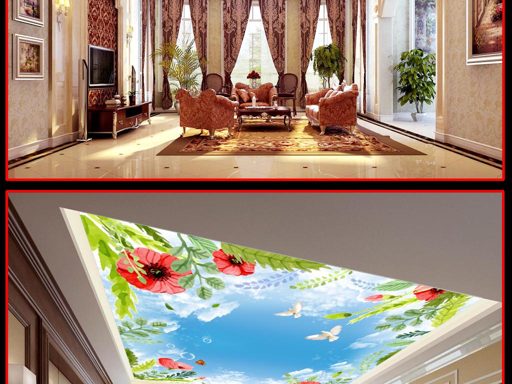 蓝天鸟儿蝴蝶白云手绘花朵天花吊顶装饰壁画