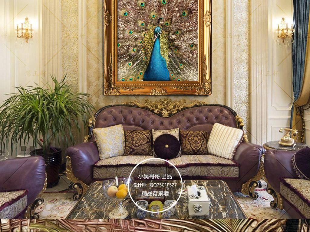 孔雀油画欧式玄关背景墙装饰画