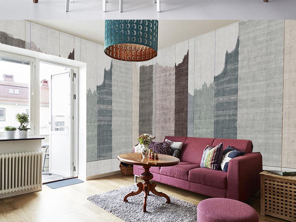 休息区唯美多用手绘背景客厅电视背景墙手绘地中海