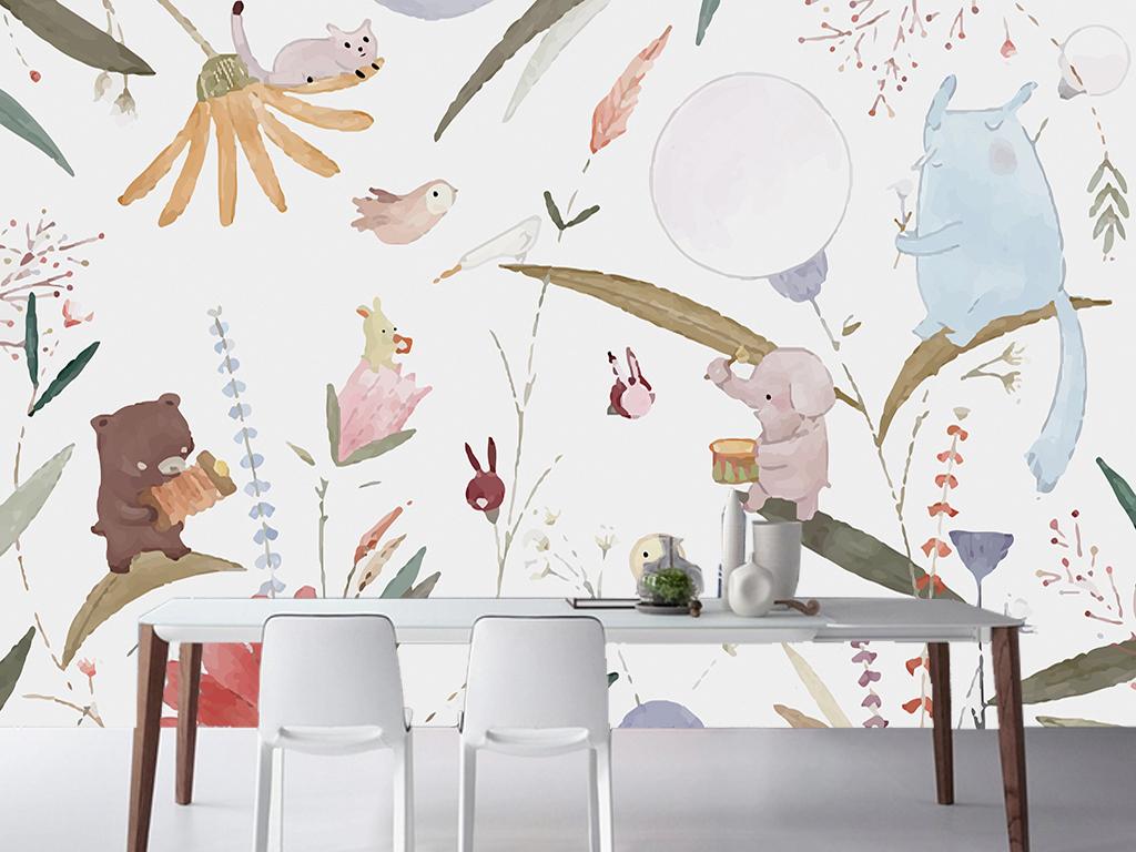 手绘创意植物动物演奏儿童房电视背景墙
