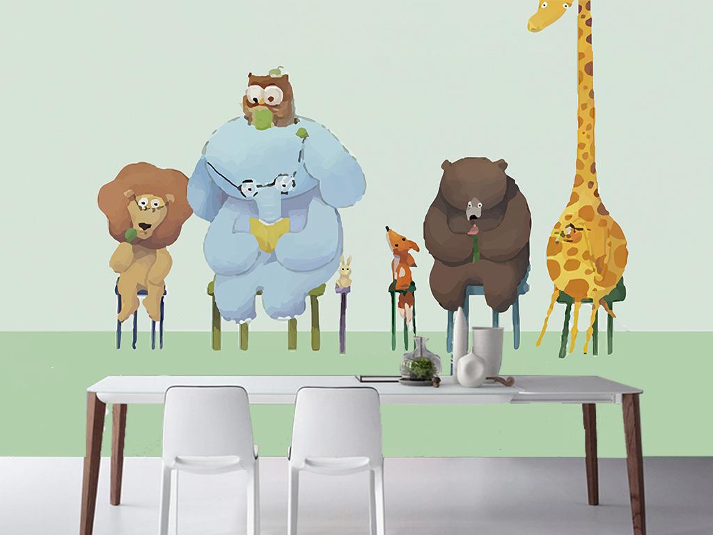 主题电视背景墙手绘背景手绘动物儿童房背景清新背景