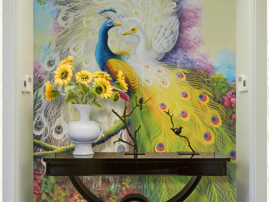 花园孔雀高画质纯手绘油画艺术玄关