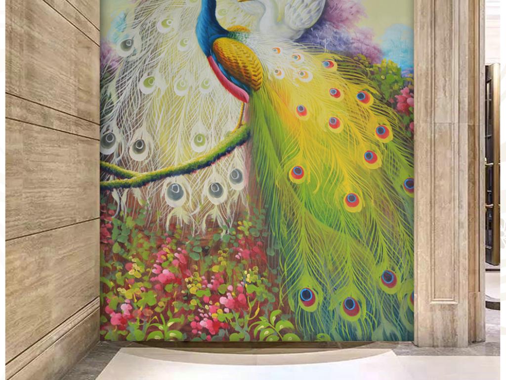 花园孔雀高画质纯手绘油画艺术玄关图片设计素材_高清