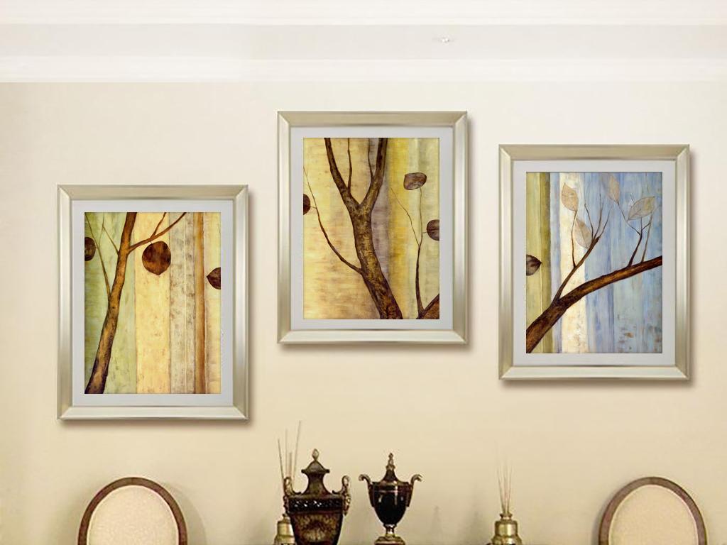 抽象油画树枝树干三联画装饰画