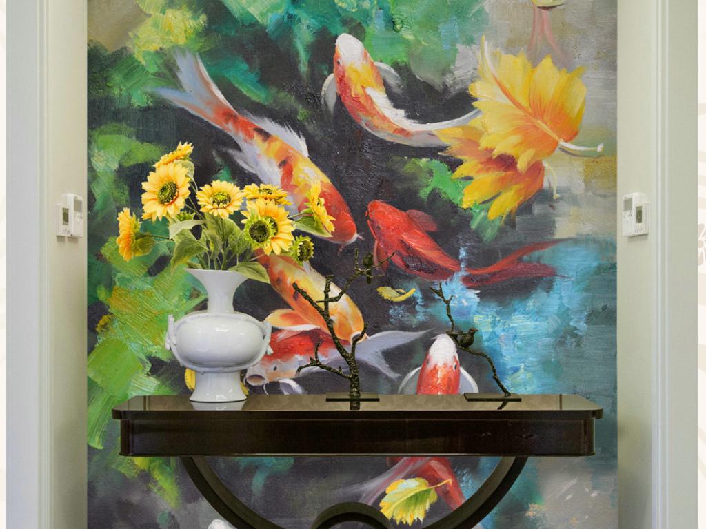 油画九鱼艺术手绘手绘艺术纯手绘高画艺术字艺术字设计英文字母艺术字