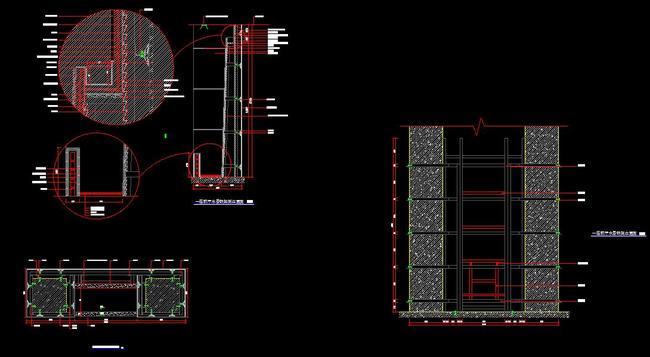 室内设计cad图库 节点详图cad图纸 > cad节点大样图石材干挂施工图