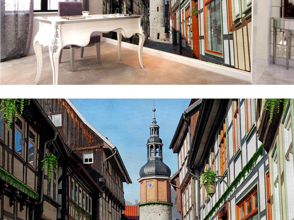 欧式建筑复古街道电视背景墙
