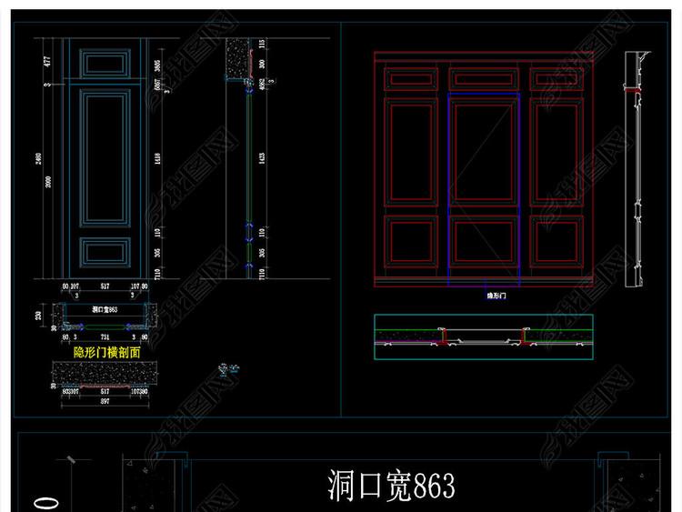 隐形门类标准制作CAD节点图纸