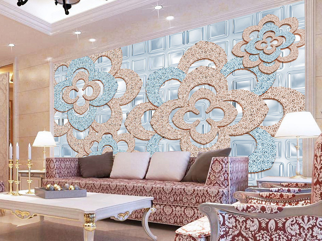 钻石欧式3d立体珠宝花朵背景墙轻奢风