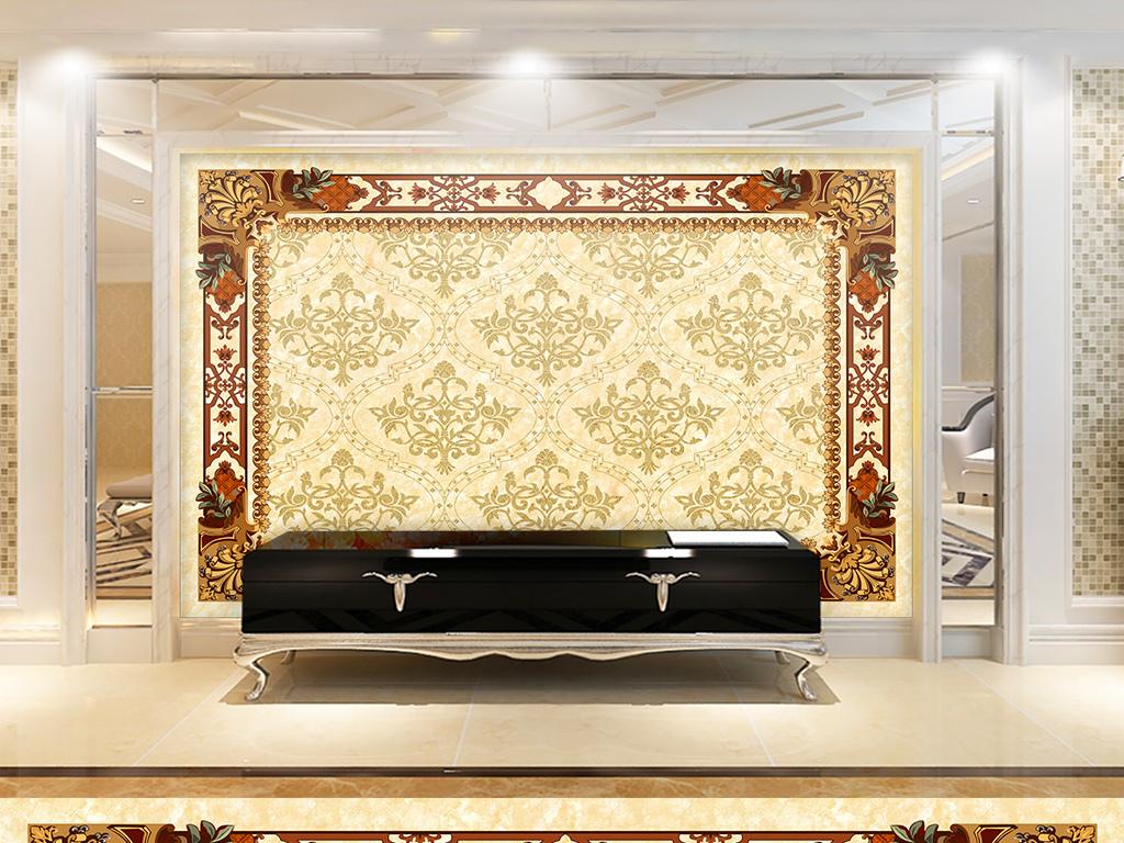 欧式花纹大理石背景墙(图片编号:15874868)