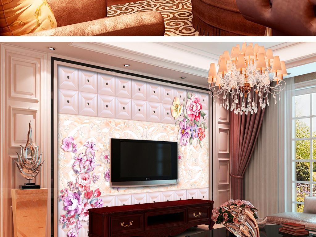 花团锦簇欧式软包大理石珠宝花背景墙