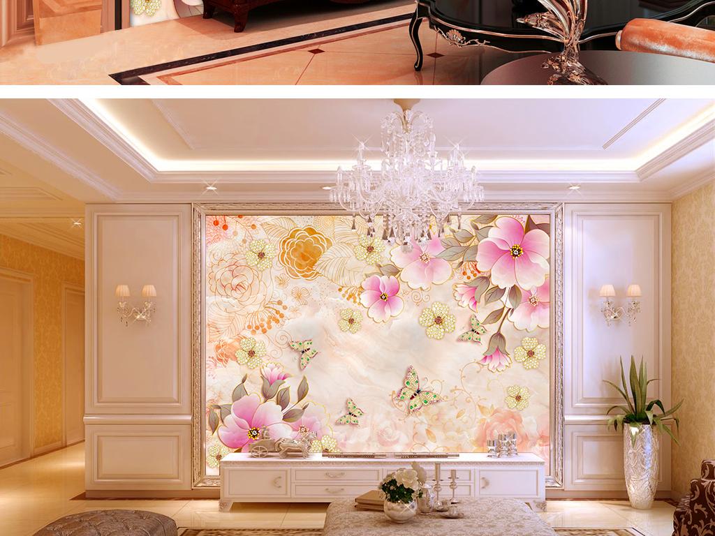 田园风玫瑰金花石纹珠宝背景墙大理石背景珠宝欧式