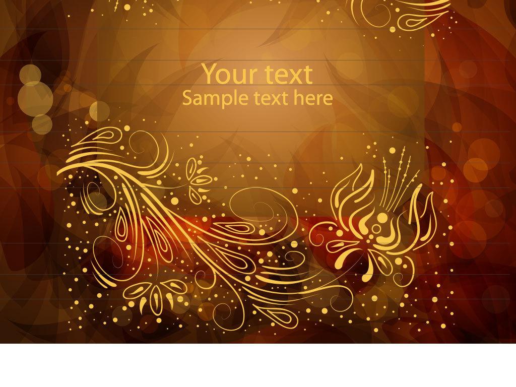 复古金色花纹边框底纹元素